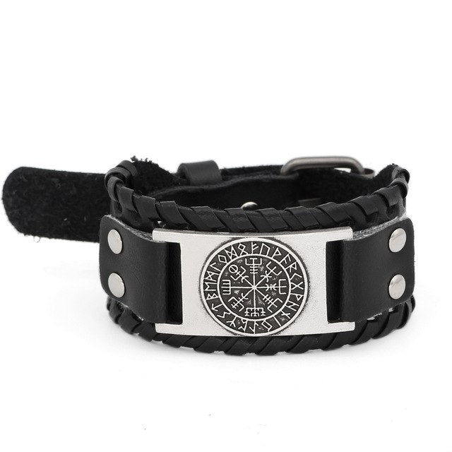 NORDIC ODIC VIKING LEATHER AMULET BRACELET