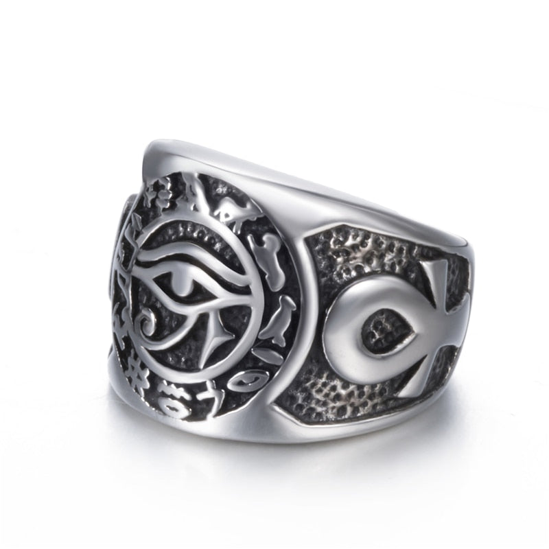 EGYPTIAN EYE OF HORUS CROSS OF LIFE RING