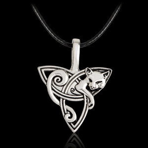 Stainless Steel Cat Celtic Necklace