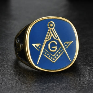 GOLD COLOUR WITH BLUE INLAY MASONIC RING