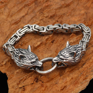 STAINLESS STEEL VIKING DOUBLE WOLF HEAD BRACELET