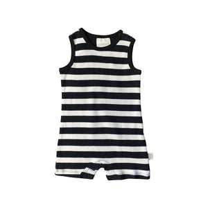 Summer Romper - Black Stripe