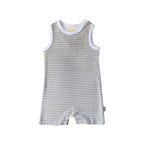 Summer Romper - Grey Stripe