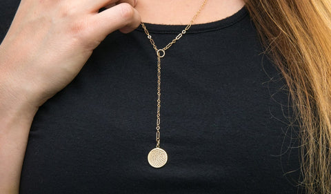 14k Yellow Gold Lariat Necklace