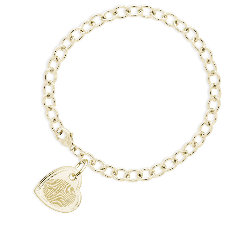 14k Yellow Gold Fingerprint Jewelry Bracelet with Offset Heart Charm