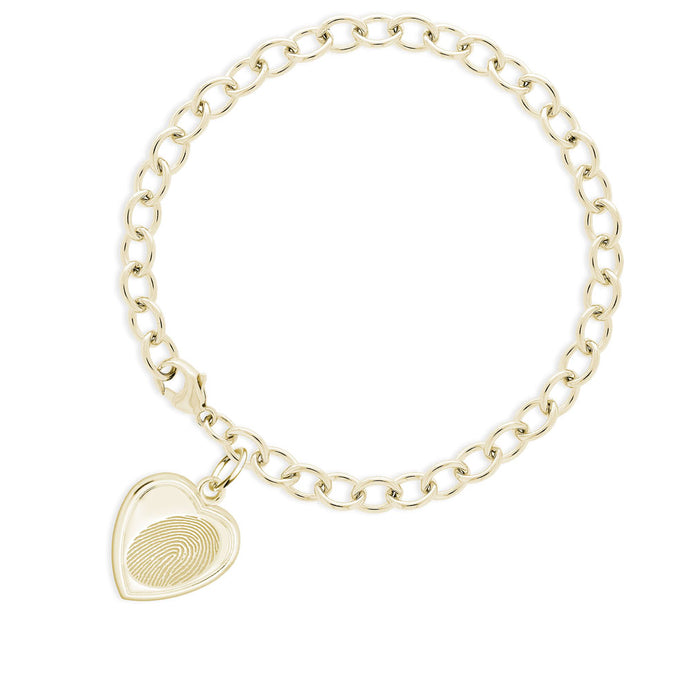 14k Yellow Gold Fingerprint Jewelry Bracelet with Vertical Heart Charm