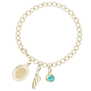 14k Yellow Gold Fingerprint Jewelry Bracelet with Oval Charm