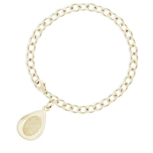 14k Yellow Gold Fingerprint Jewelry Bracelet with Tear Drop Charm