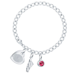 Sterling Silver Fingerprint Jewelry Bracelet with Offset Heart Charm
