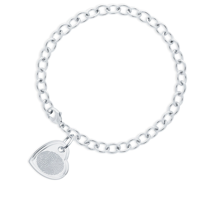 Sterling Silver Bracelet with Offset Heart Charm