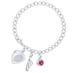 Sterling Silver Fingerprint Jewelry Bracelet with Vertical Heart Charm