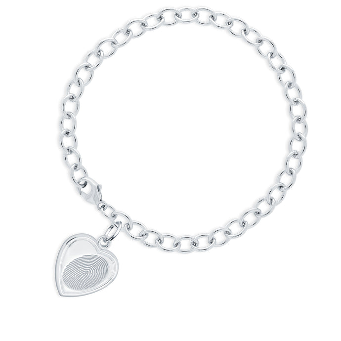 Sterling Silver Bracelet with Vertical Heart Charm