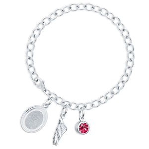 Sterling Silver Fingerprint Jewelry Bracelet with Oval Charm