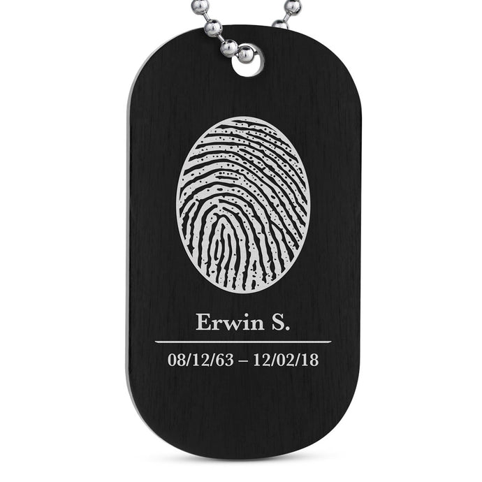 Ultralight Aluminum Fingerprint Jewelry Dog Tag