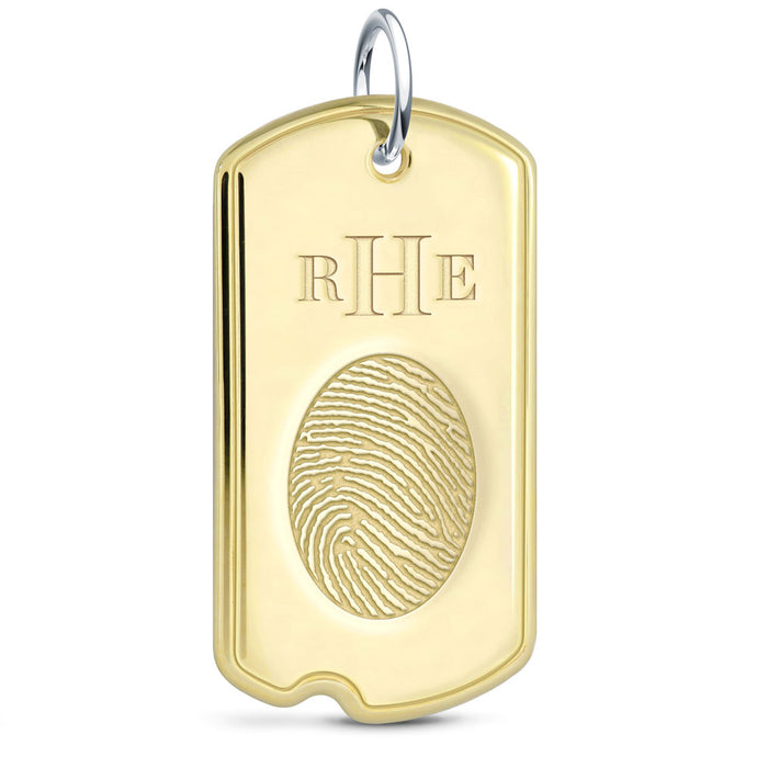 Brass Fingerprint Jewelry Dog Tag Pendant