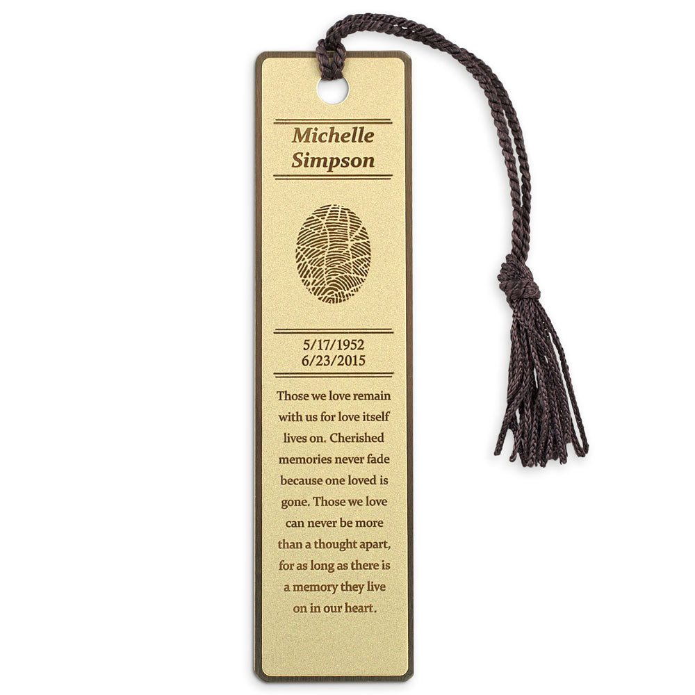Fingerprint Keepsake Memorial Fingerprint Bookmark