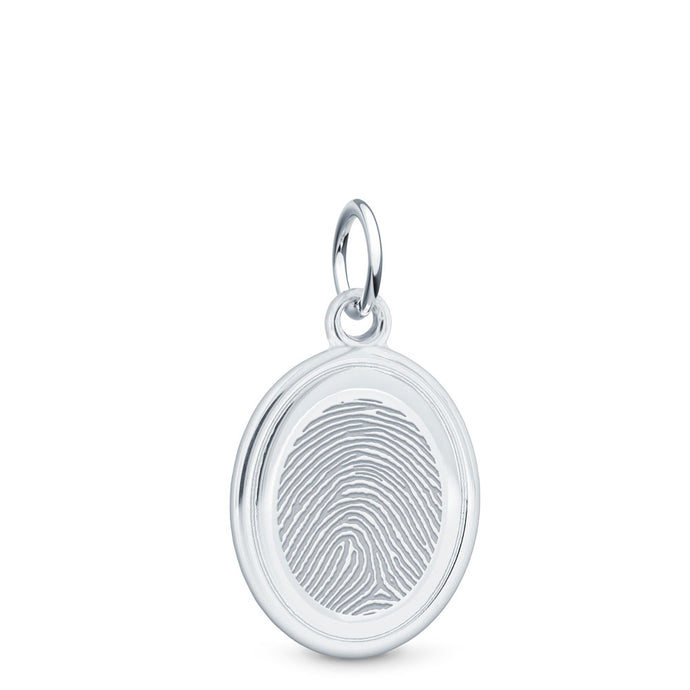Sterling Silver Fingerprint Jewelry Oval Charm