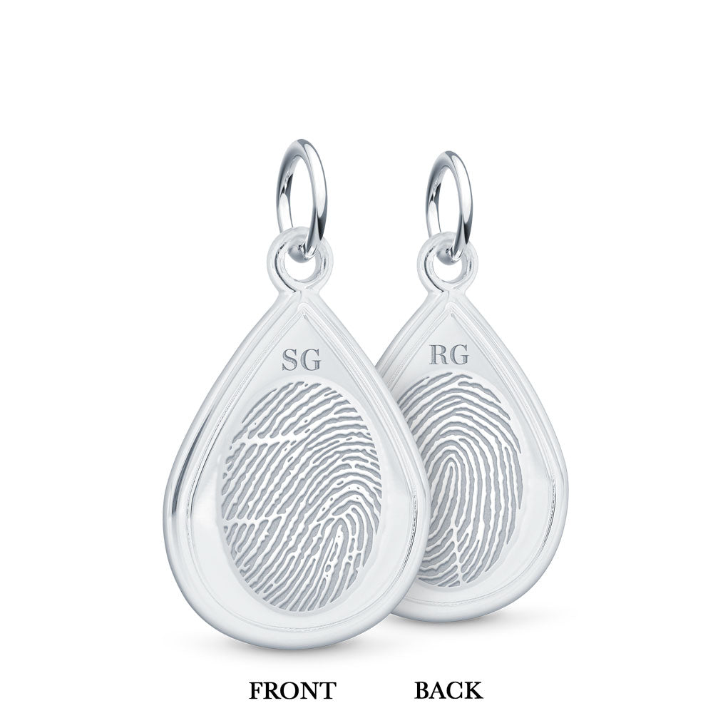 Dual Print Sterling Silver Tear Drop Charm