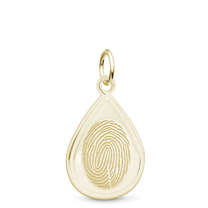 14k Yellow Gold Fingerprint Jewelry Tear Drop Charm