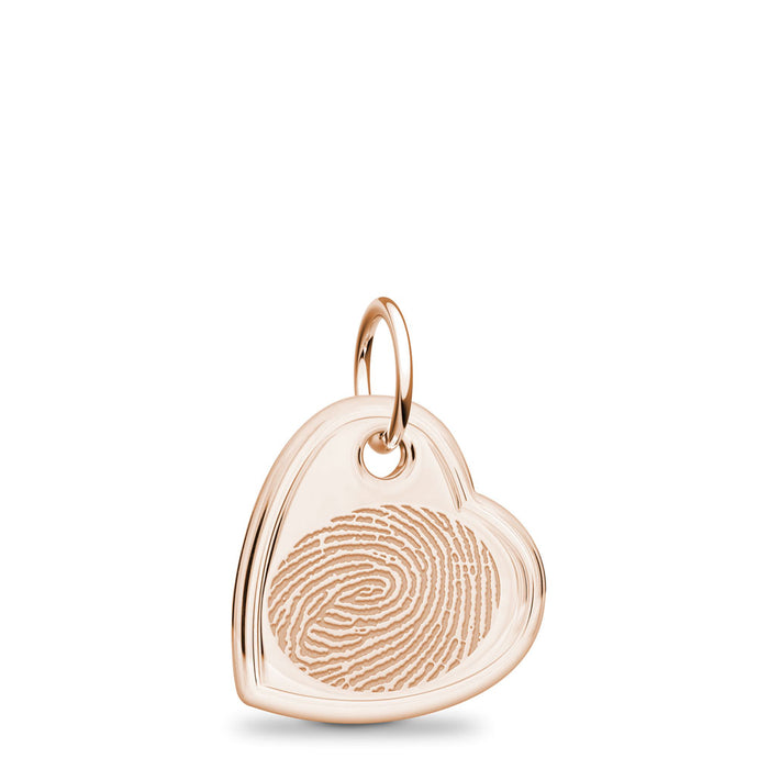 14k Rose Gold Fingerprint Jewelry Offset Heart Charm