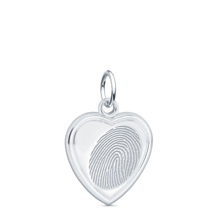 Sterling Silver Fingerprint Jewelry Vertical Heart Charm