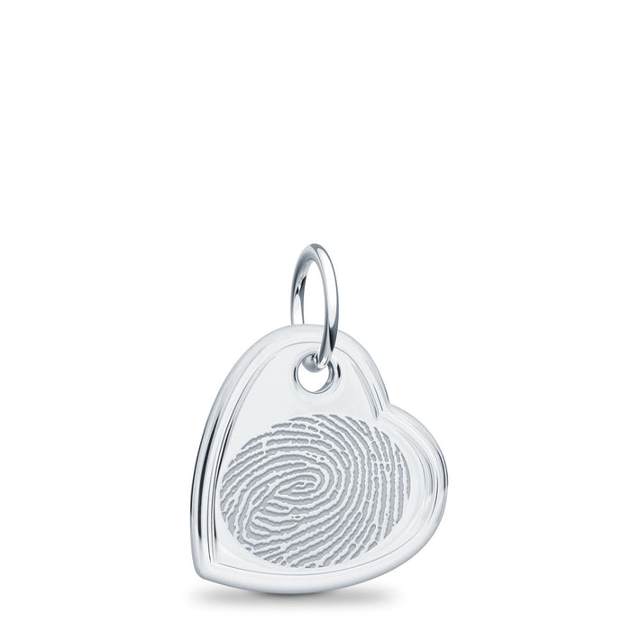 Sterling Silver Fingerprint Jewelry Offset Heart Charm