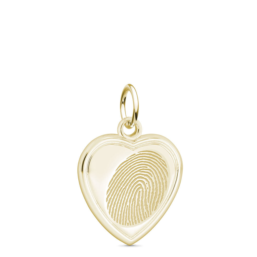 14k Yellow Gold Fingerprint Jewelry Vertical Heart Charm