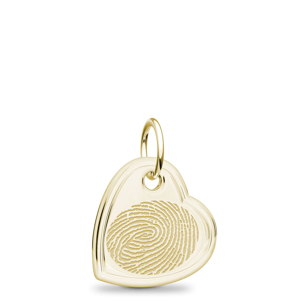 14k Yellow Gold Fingerprint Jewelry Offset Heart Charm