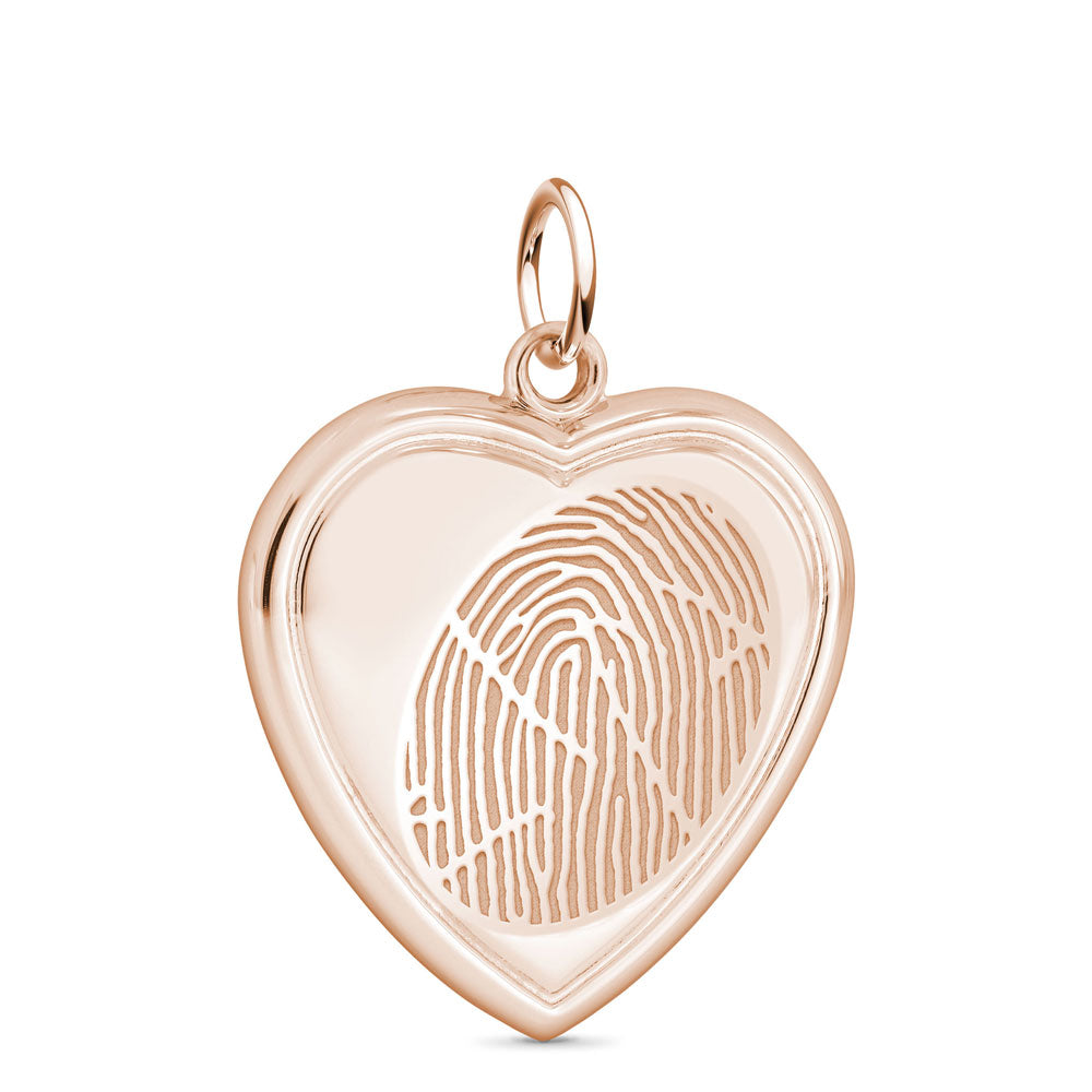 14k Rose Gold Fingerprint Jewelry Vertical Heart Pendant