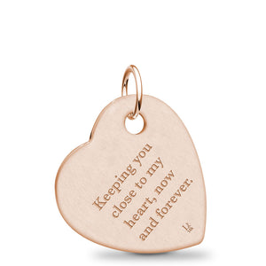 14k Rose Gold Fingerprint Jewelry Offset Heart Pendant