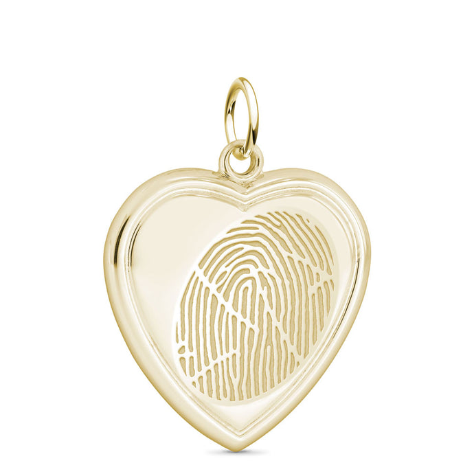 14k Yellow Gold Fingerprint Jewelry Vertical Heart Pendant
