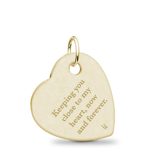 14k Yellow Gold Fingerprint Jewelry Offset Heart Pendant