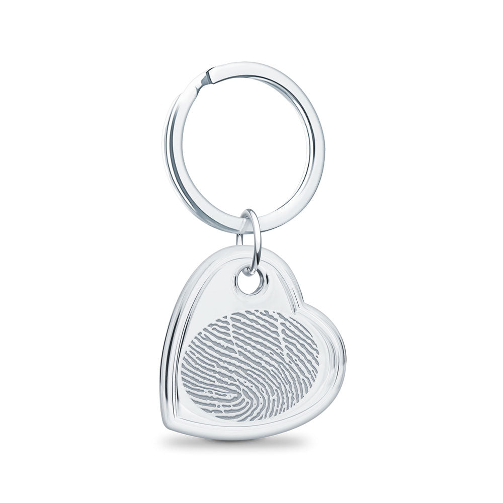 Sterling Silver Fingerprint Keepsake Offset Heart Keychain