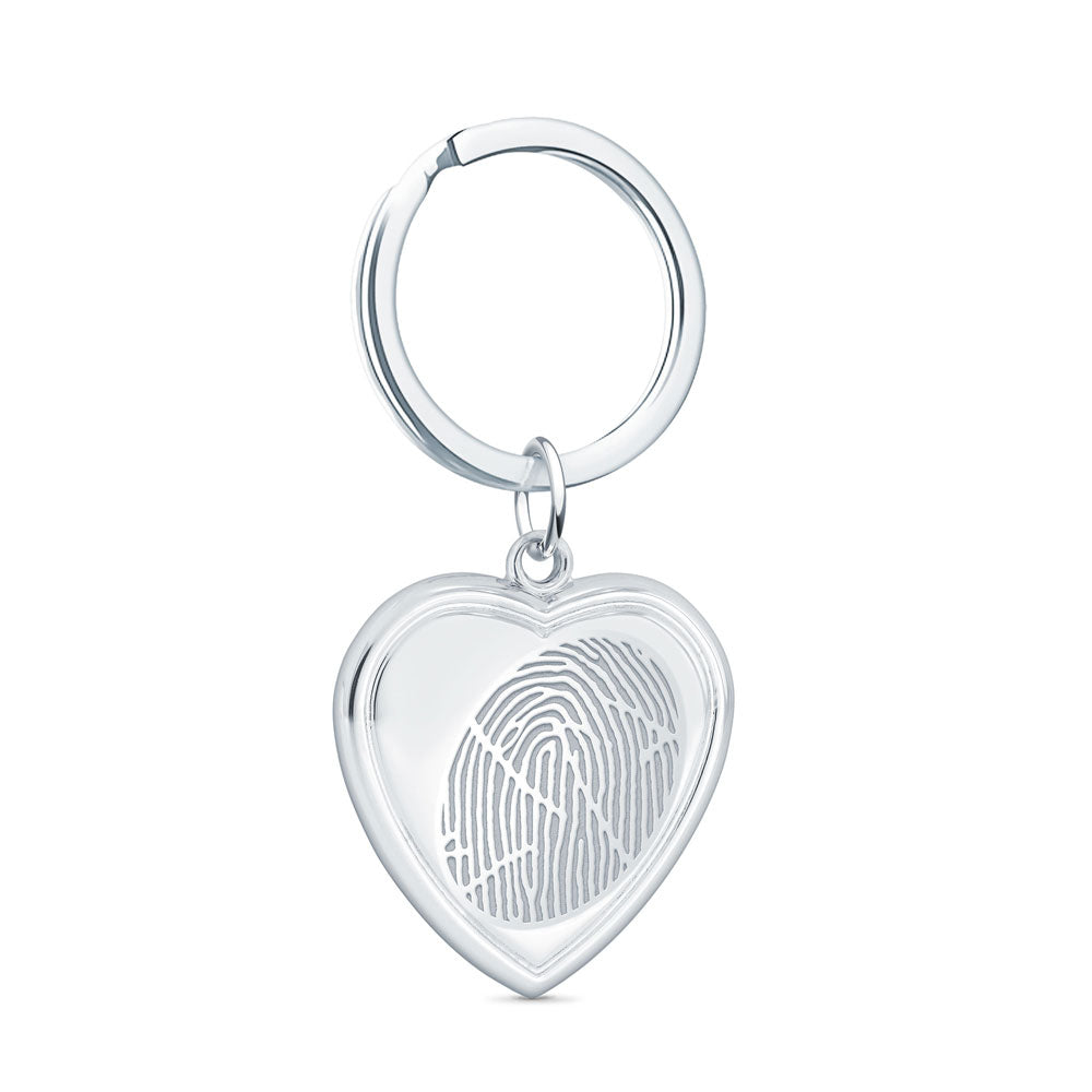 Sterling Silver Fingerprint Keepsake Vertical Heart Keychain