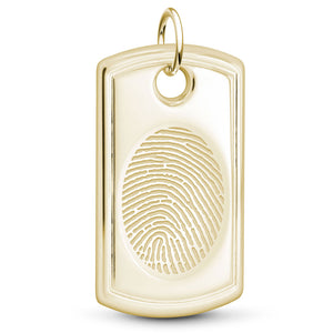 14k Yellow Gold Fingerprint Jewelry Designer Dog Tag Pendant