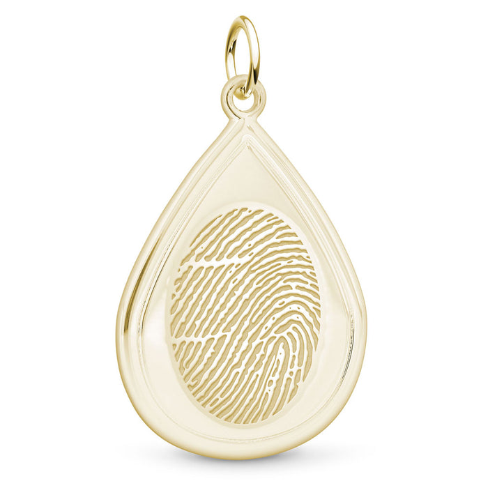 14k Yellow Gold Fingerprint Jewelry Tear Drop Pendant