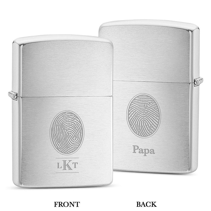 Dual Print Zippo® Lighter - Brushed Chrome