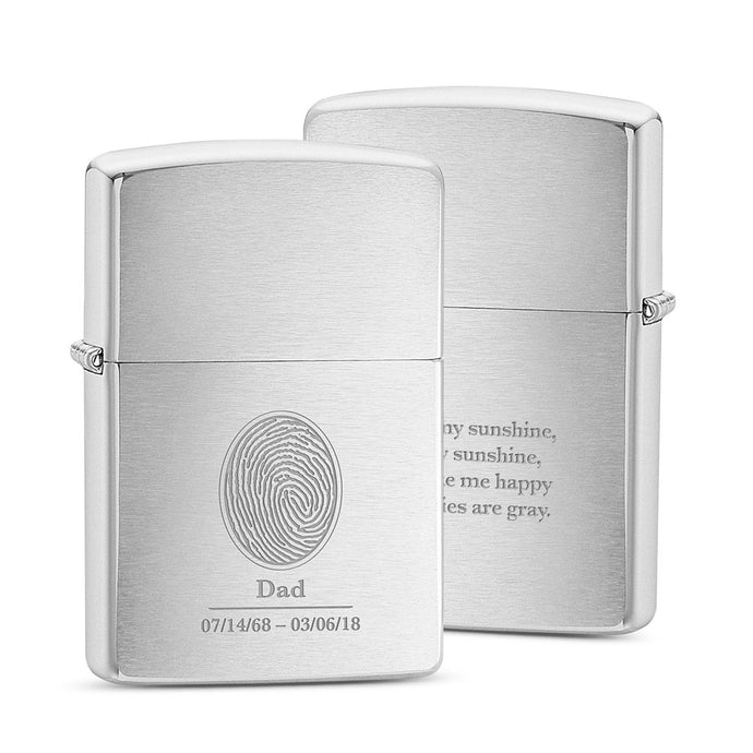 Fingerprint Keepsake Zippo® Lighter – Brushed Chrome
