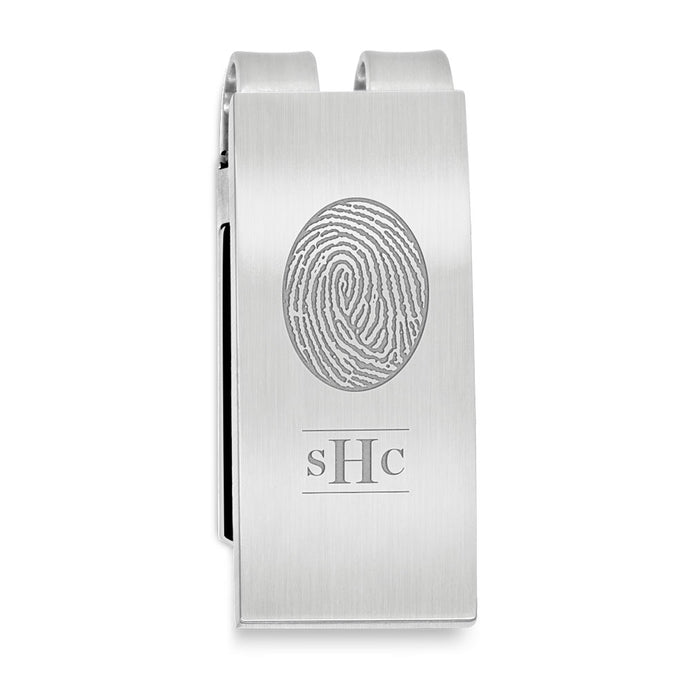 Fingerprint Keepsake Stainless Steel Money Clip