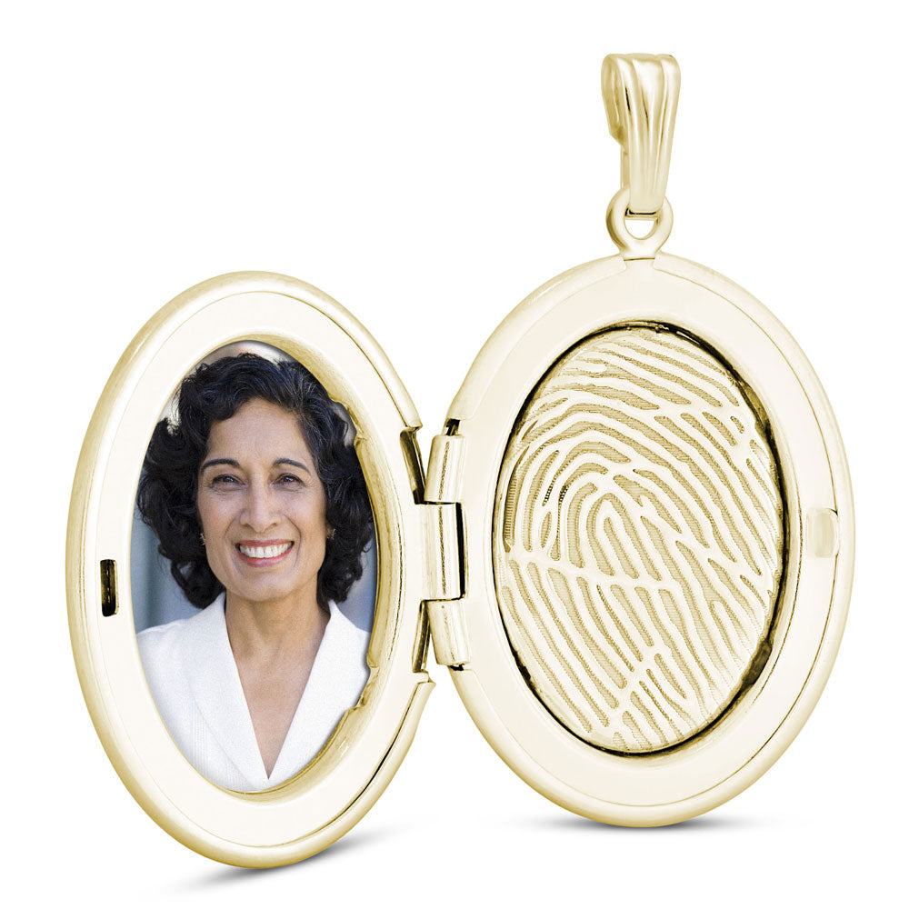 14k Yellow Gold Fingerprint Jewelry Oval Locket