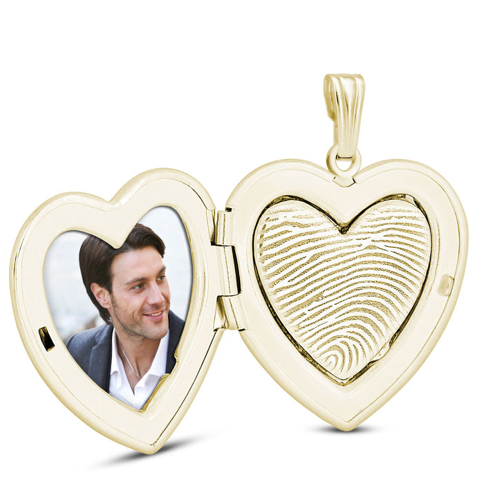 14k Yellow Gold Fingerprint Jewelry Heart Locket
