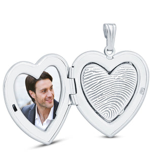Sterling Silver Fingerprint Jewelry Heart Locket