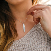 Sterling Silver Vertical Flat Bar Pendant