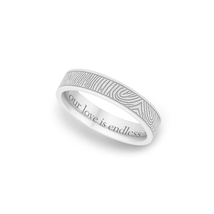 4mm White Gold Flat Fingerprint Ring