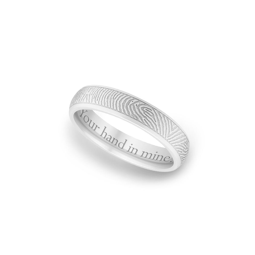 4mm White Gold Half-Round Fingerprint Ring