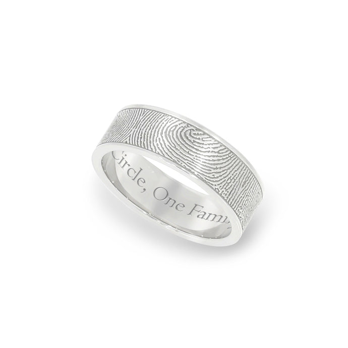 6mm White Gold Fingerprint Jewelry Flat Fingerprint Ring