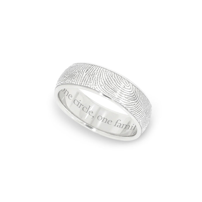6mm White Gold Fingerprint Jewelry Half-Round Fingerprint Ring