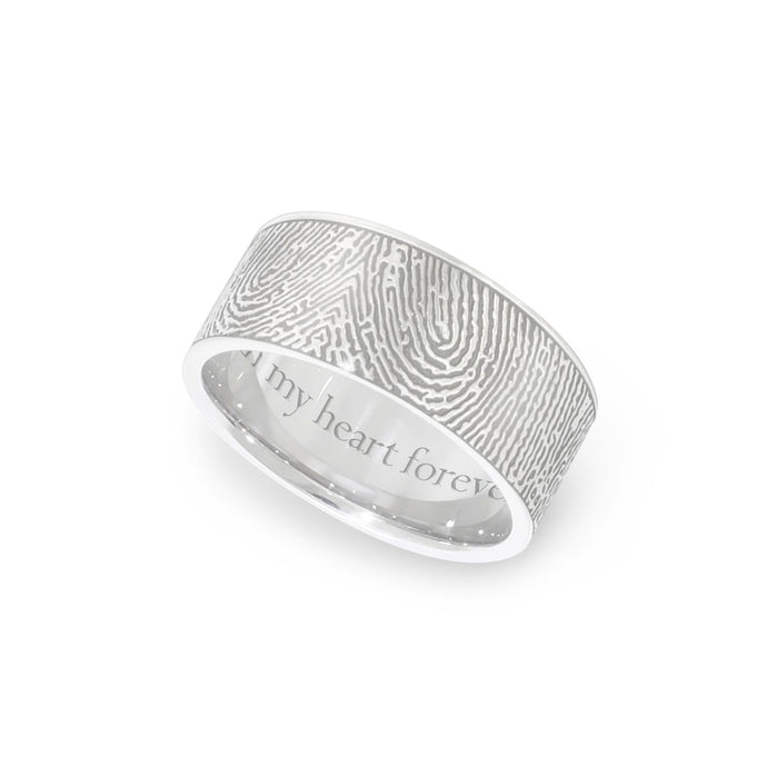 8mm White Gold Fingerprint Jewelry Flat Fingerprint Ring