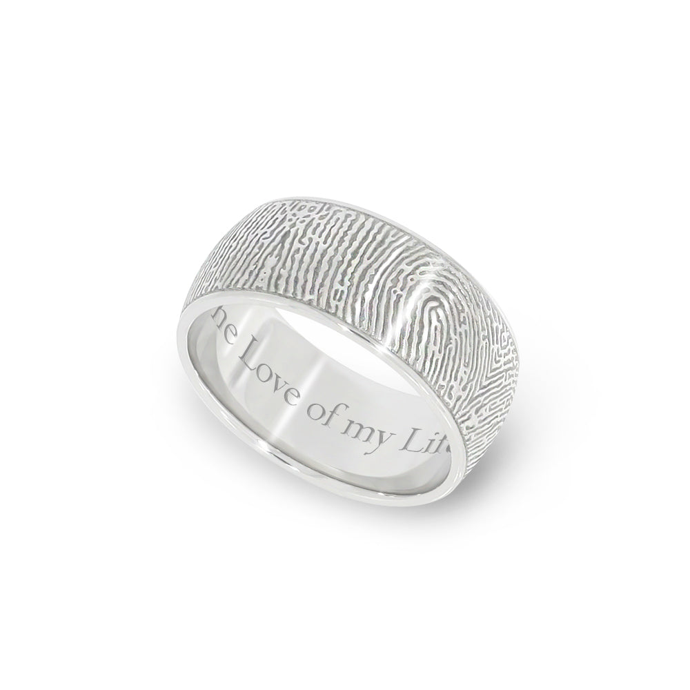 8mm White Gold Fingerprint Jewelry Half-Round Fingerprint Ring