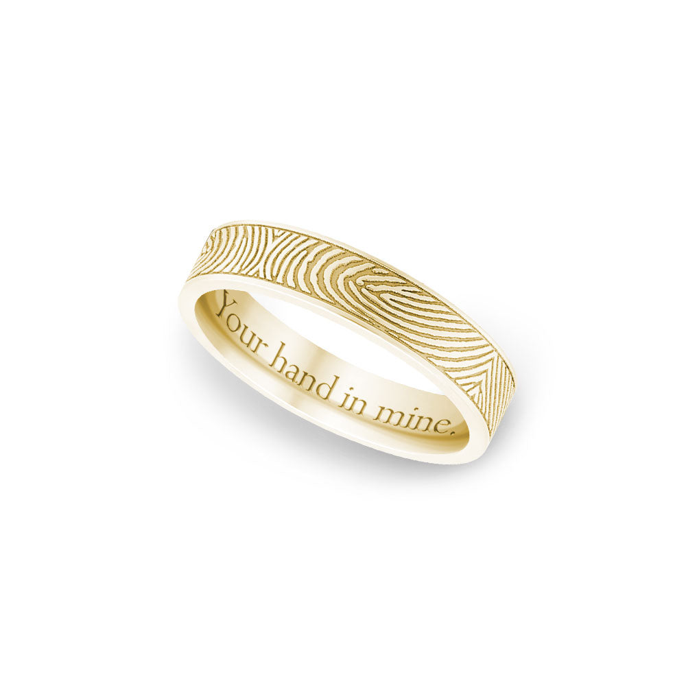 4mm Yellow Gold Flat Fingerprint Ring